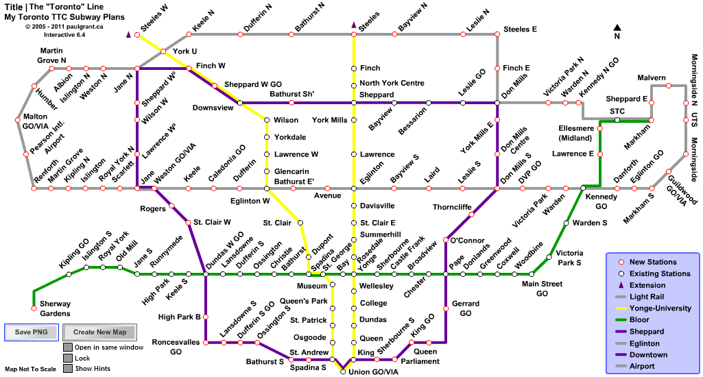 My TTC Subway Plans. Toronto Line | StreetCar Plans